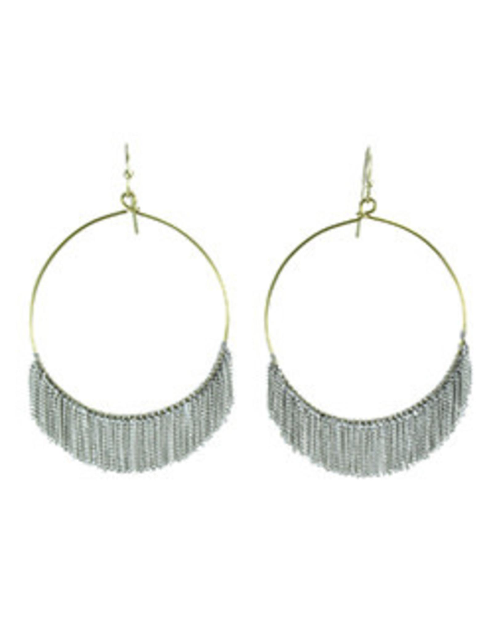 Delicate Fringed Chain Hoops  Silver Earrings