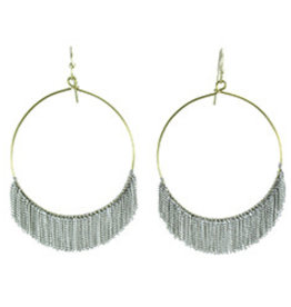 Delicate Fringed Chain Hoops  Silver Earrings
