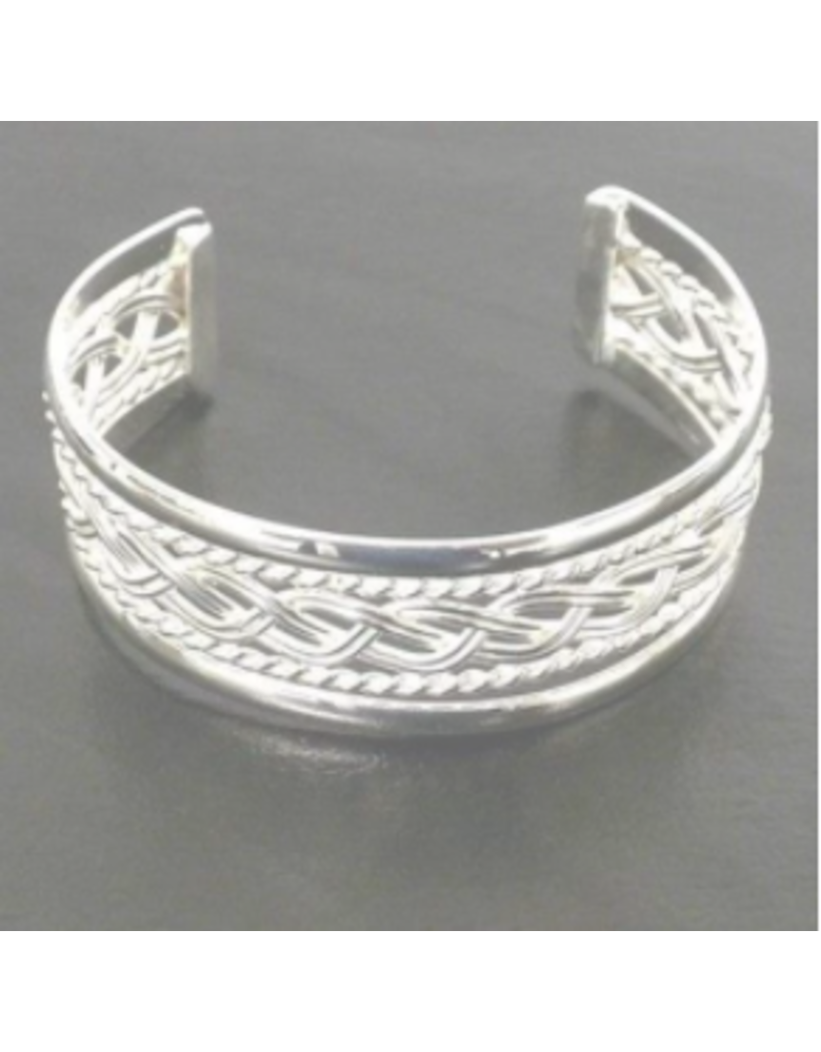 Silver  Plated Overlay Design Braided Cuff