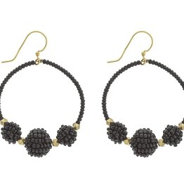 "Beaded Ball ""Uptown Girl"" Black  Earrings"
