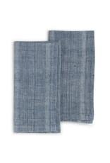 India, 20 x 20 Organic Cotton, Natural Dye Set of 2 Indigo Sea
