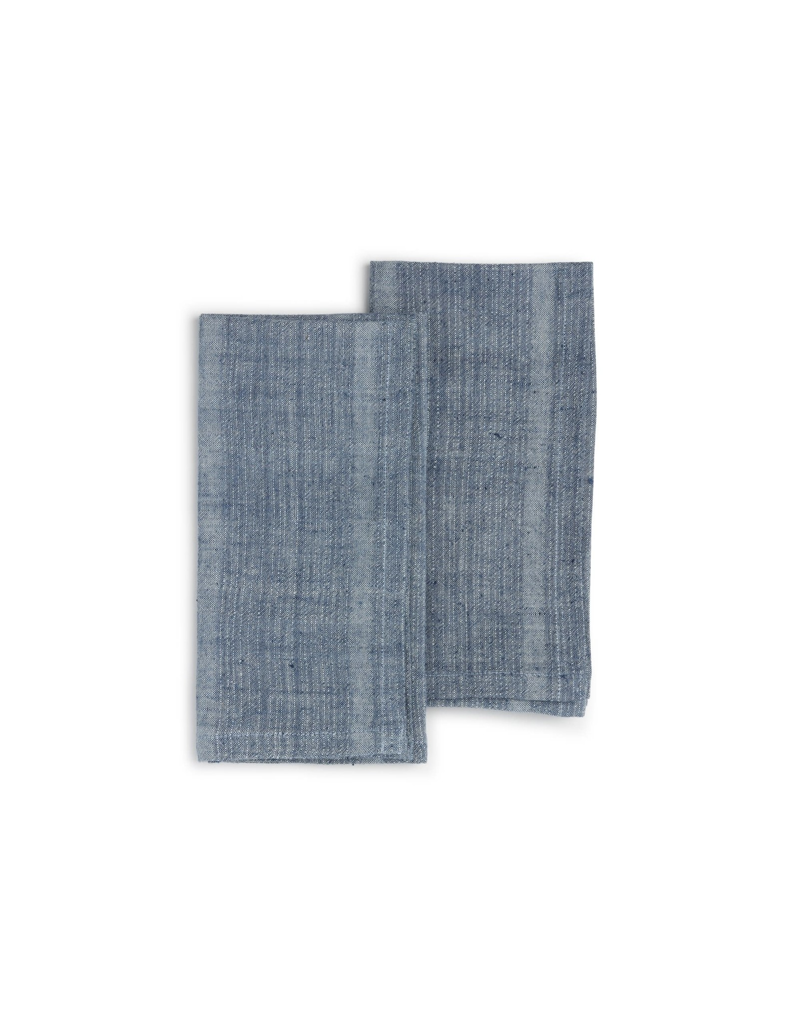 India, 20 x 20 Organic Cotton, Natural Dye Set of 2 Indigo Sea