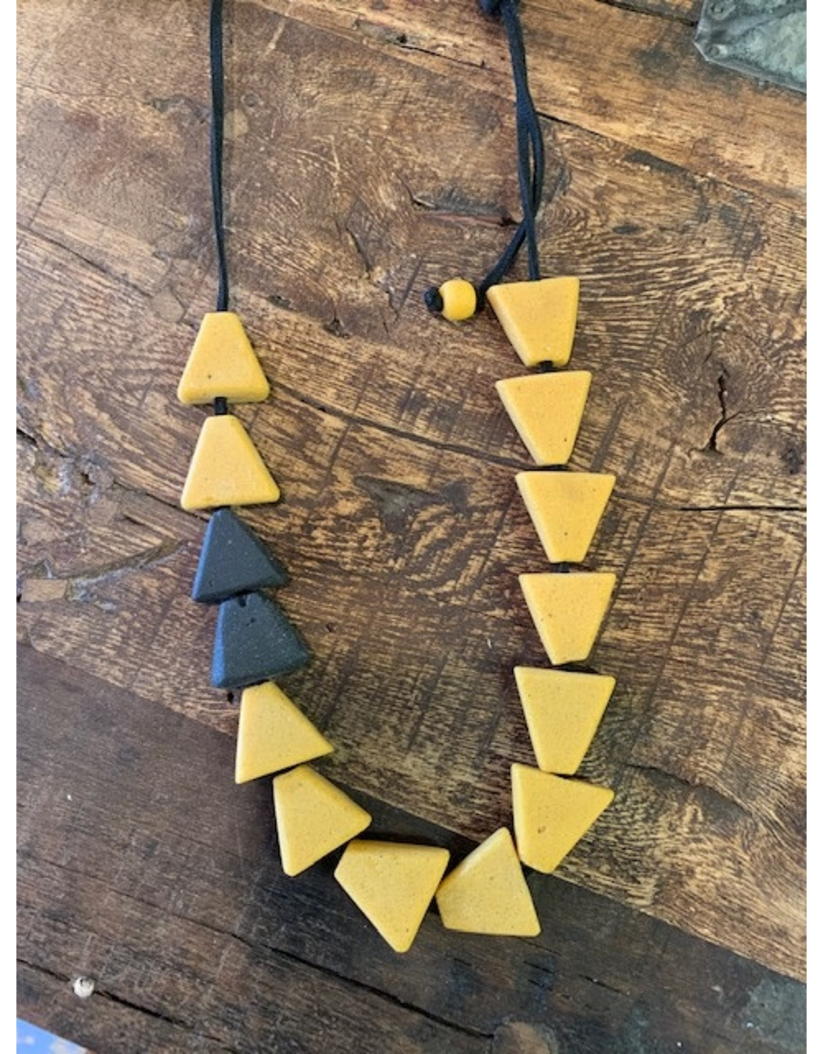 Recycled Glass Necklace, Black/Mustard