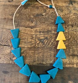 Recycled Glass Necklace, Teal/Mustard