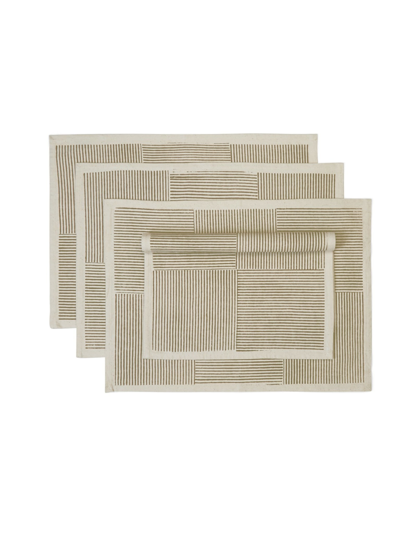 Block Printed Cotton Placemats Spruce