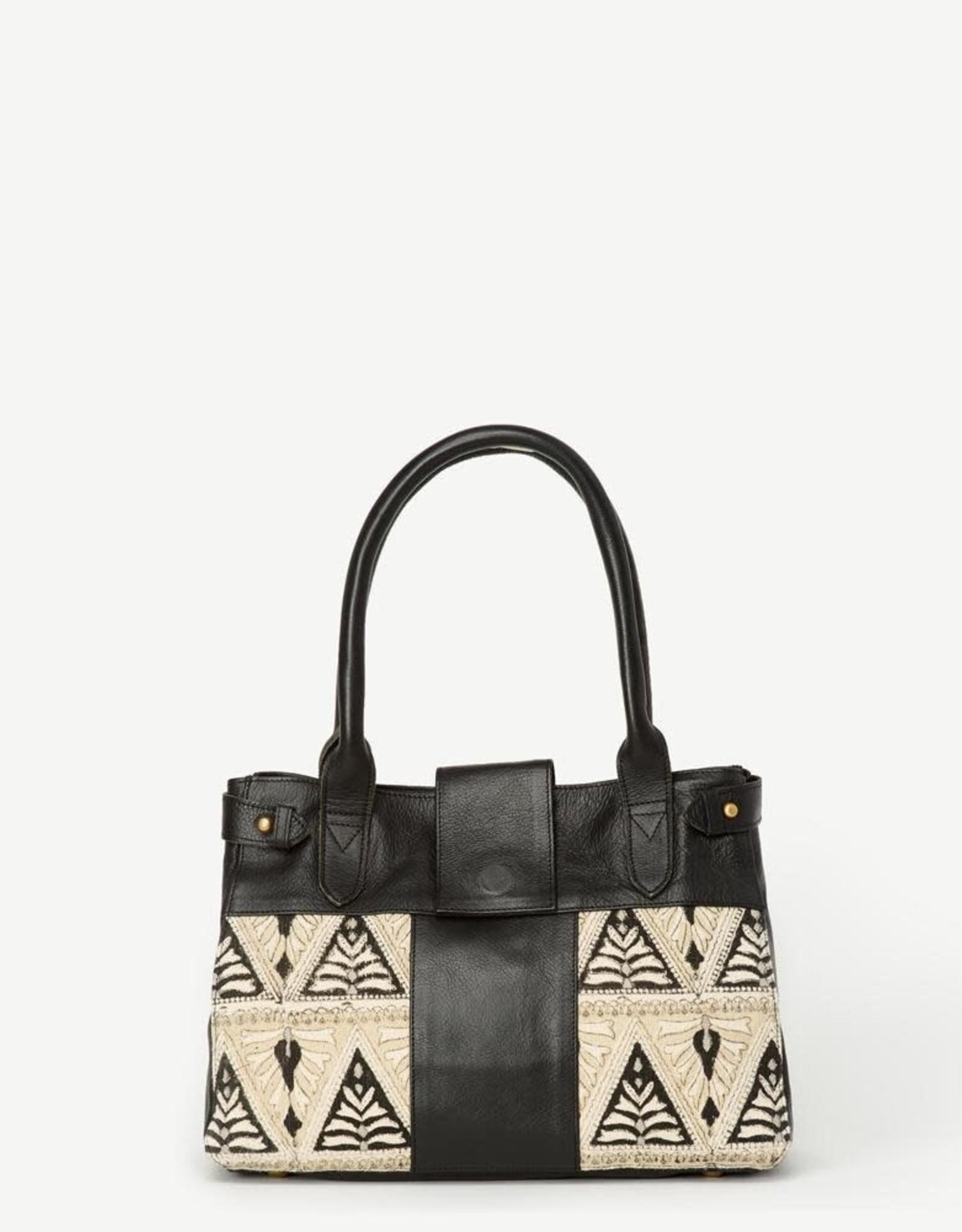 India,  Suneli Leather Handbag Indian Lace