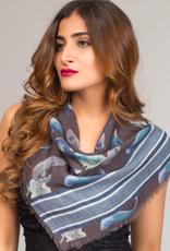 India, Chaitanya Square Wool Scarf Blue and Slate