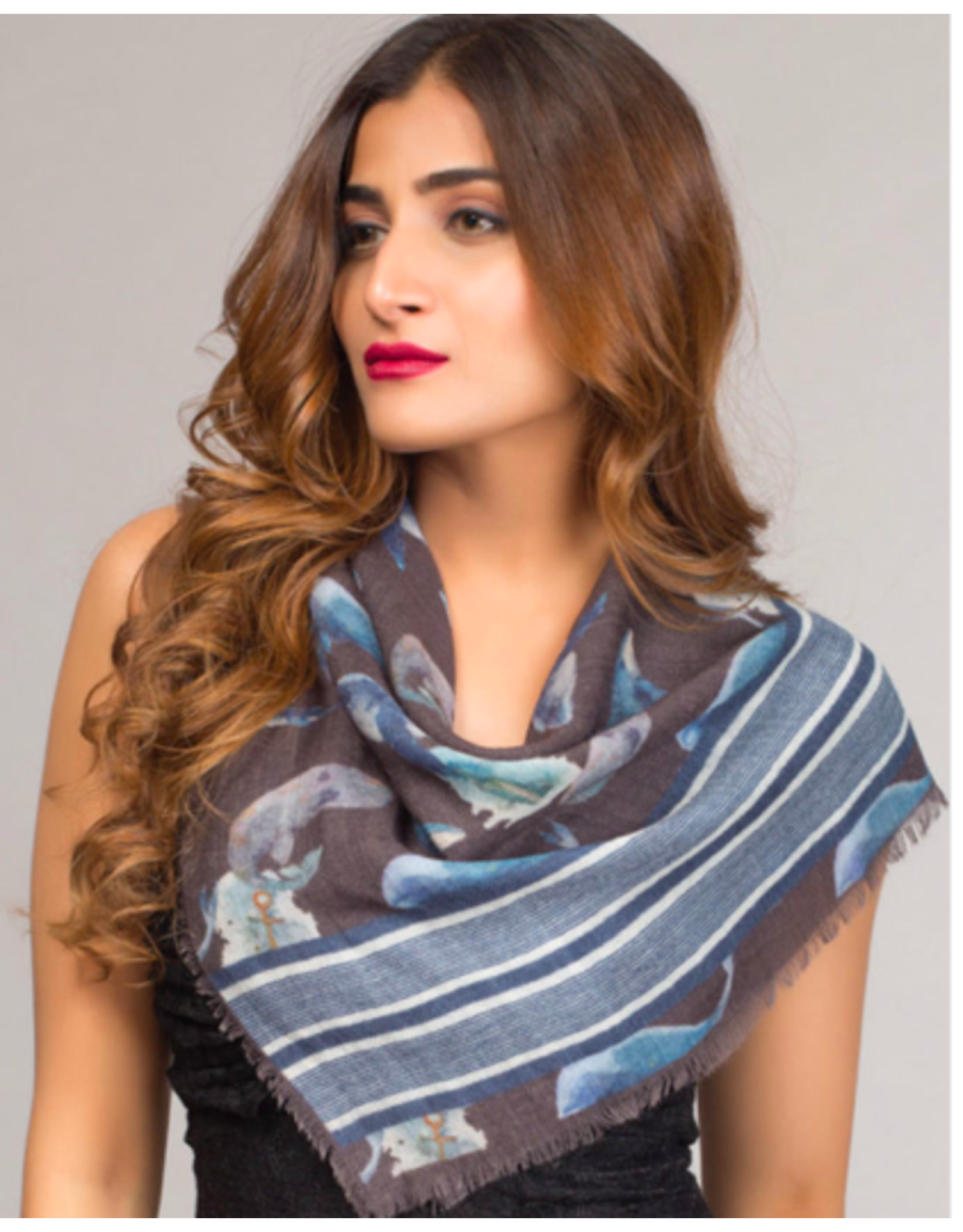 Chaitanya Square Wool Scarf Blue and Slate, India