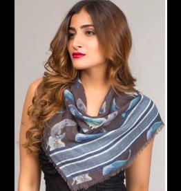 Chaitanya Square Wool Scarf Blue and Slate, India