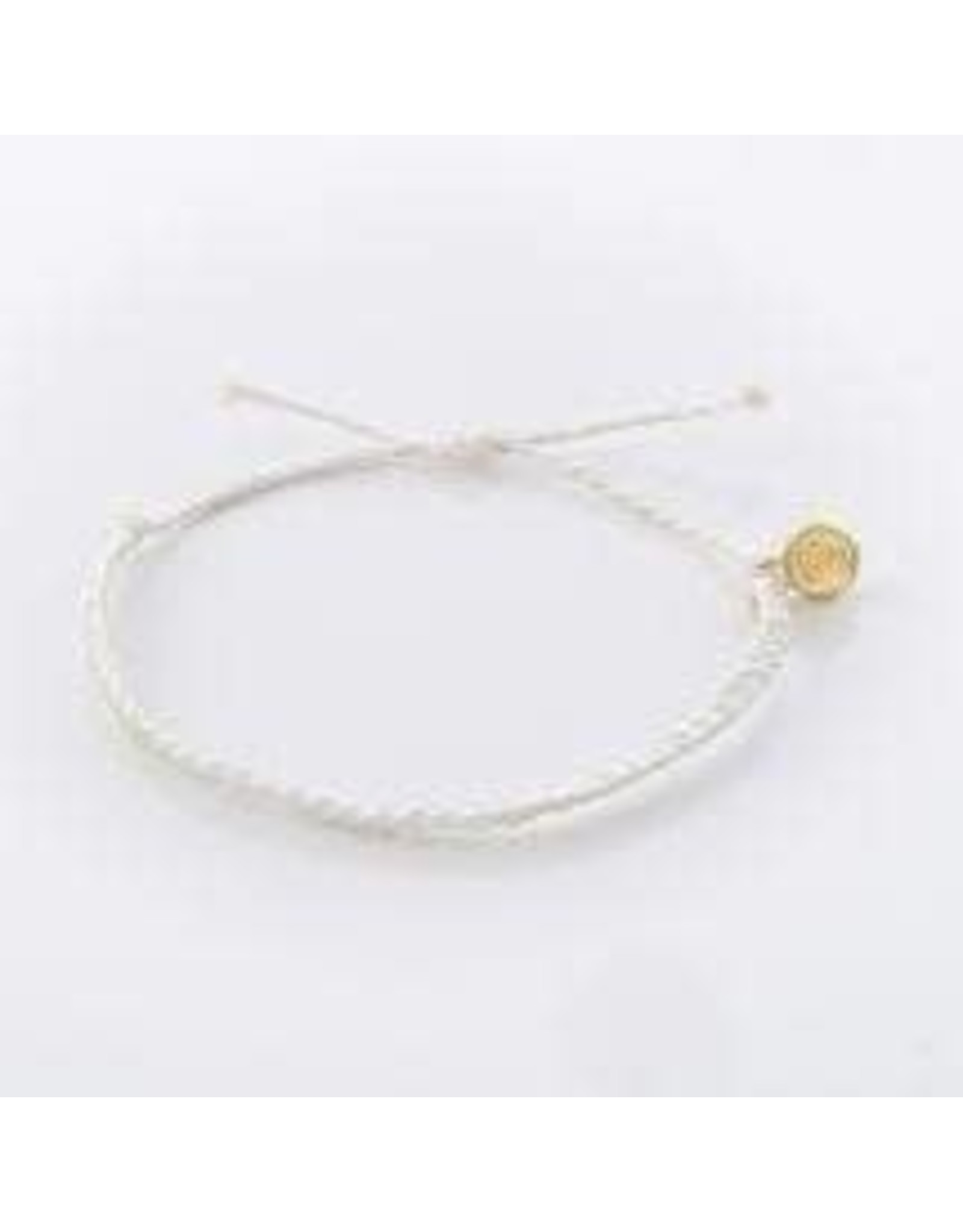 Pura Vida, Mini Braided Solid Bracelet, White