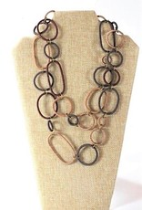 Telephone Wire, Spiral Ring Necklace  Burnt Clay