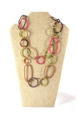 Telephone Wire, Spiral Ring Necklace  Dried Leaves