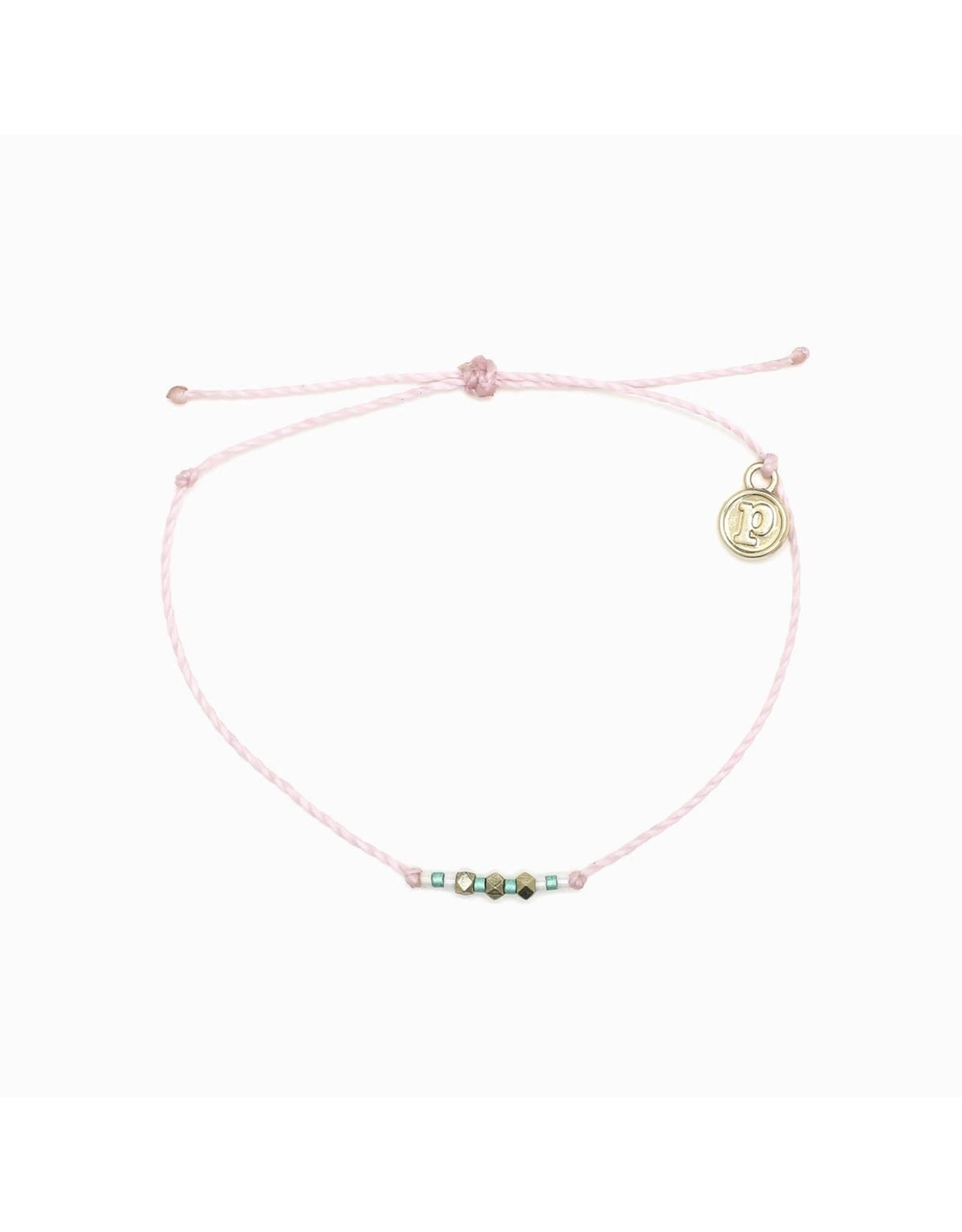 GOLD Delicate SEED BEAD Bracelet, LT PINK/ BLUE
