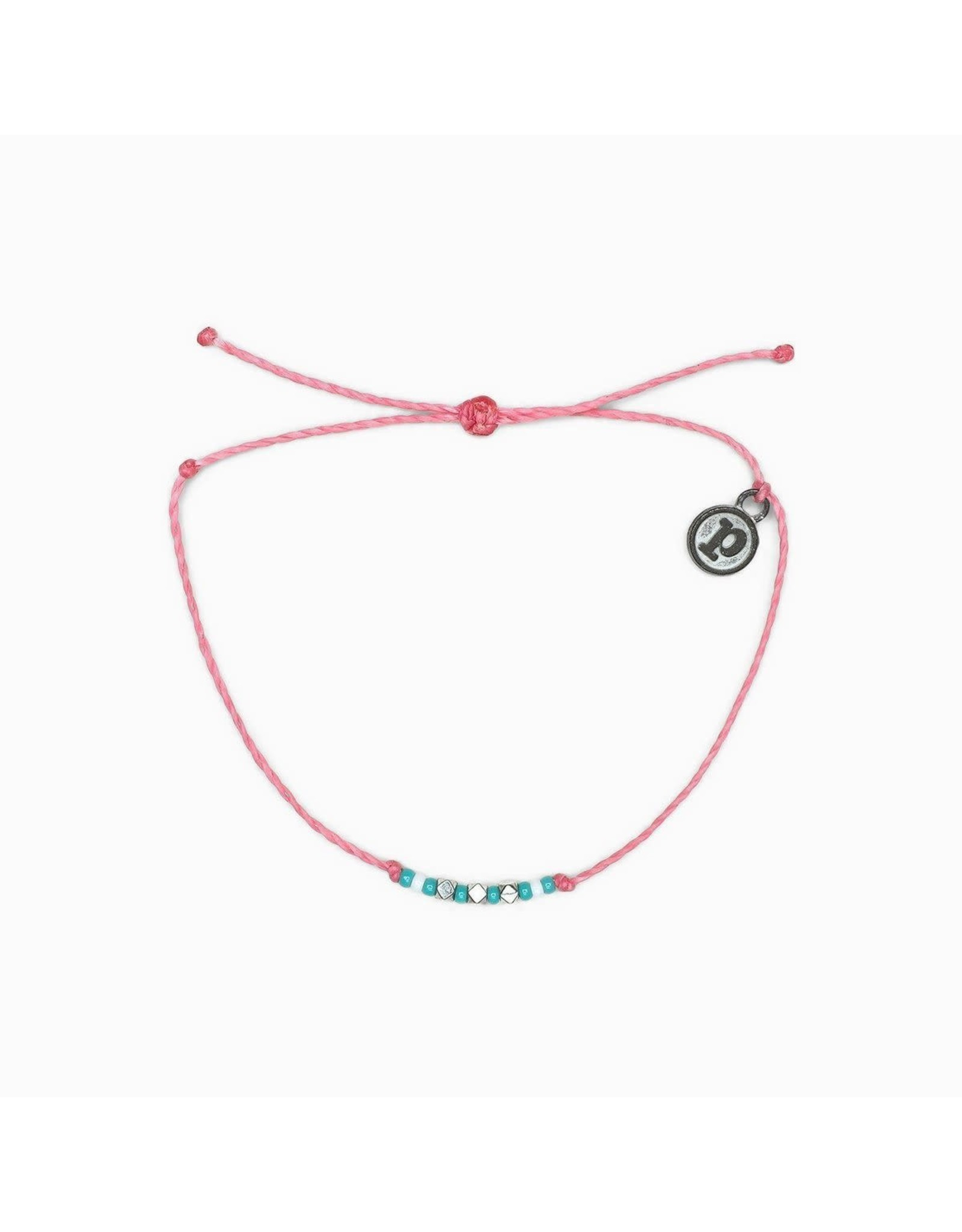 Pura Vida, Silver  Delicate Seed Bead Bracelet, Pink