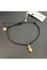 Pura Vida, Gold Pineapple Bitty Charm Bracelet, on Black