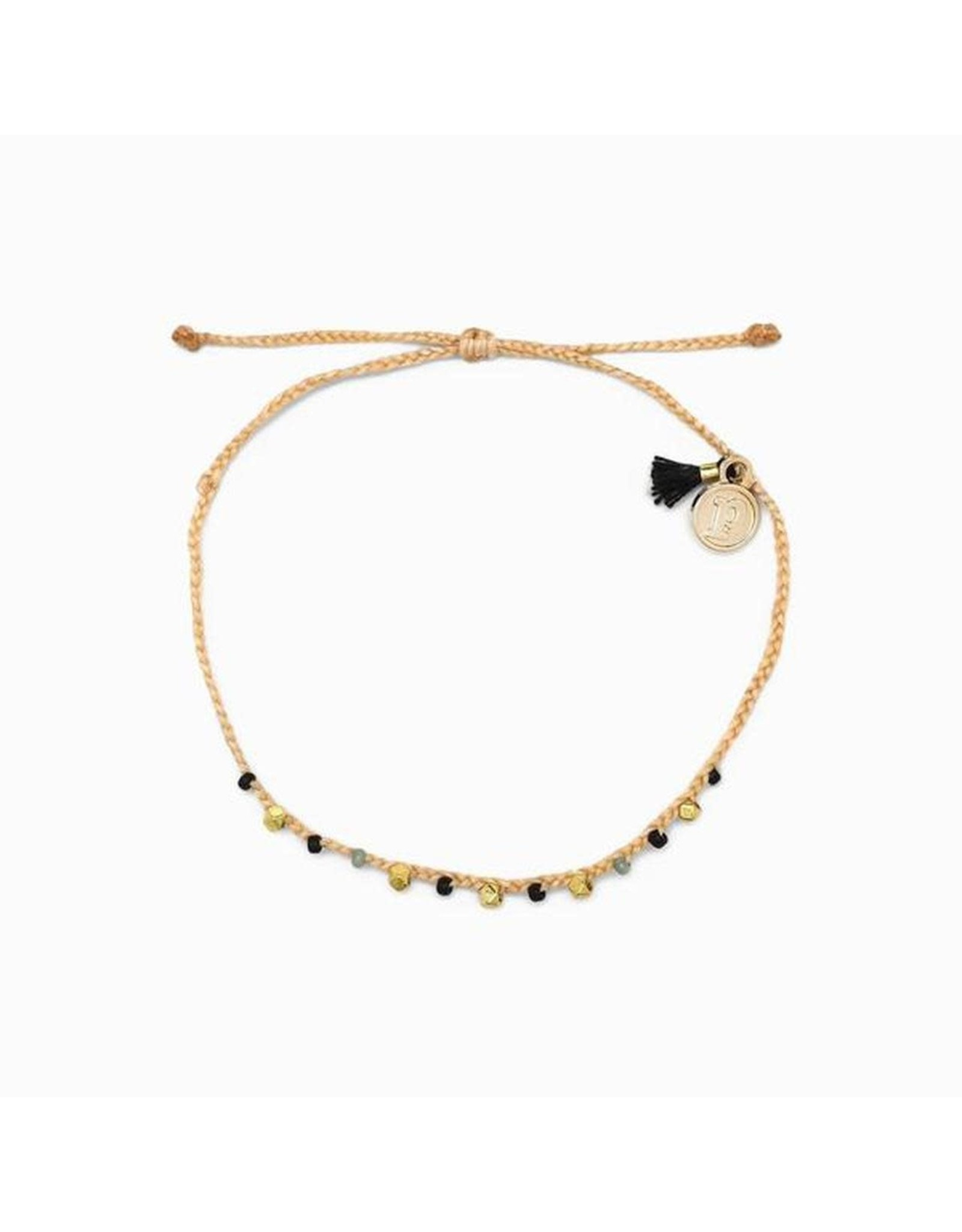 GOLD BEAD and BRAID Bracelet, BEIGE