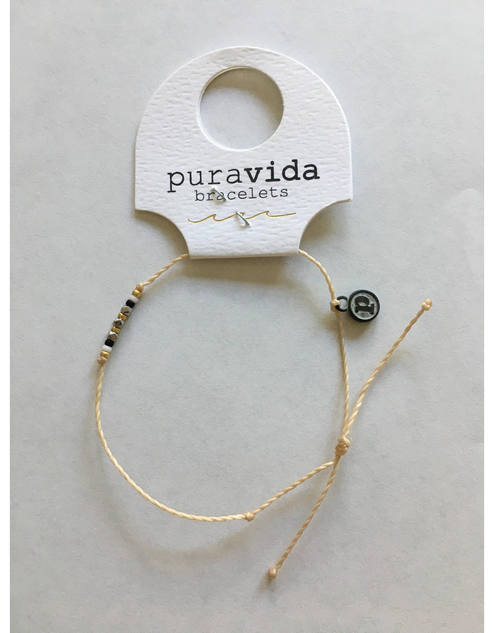 Pura Vida, Silver  Delicate Seed Bead Bracelet, Beige