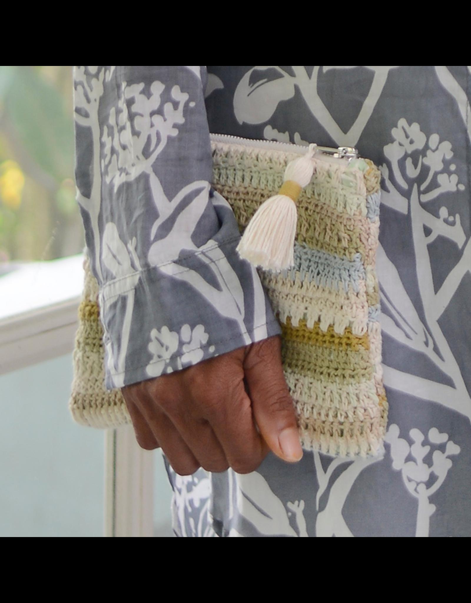 Crocheted Clutch Bag, Light Mix