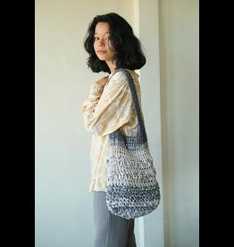 Crocheted Barbara Shoulder Bag, Indigo Gray
