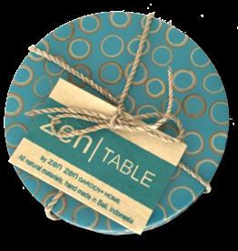 Bamboo Inlay Coasters (set of 4) Teal