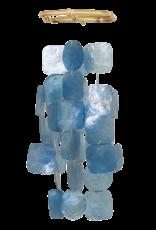 Small Square Capiz Wind Chimes, BLUE