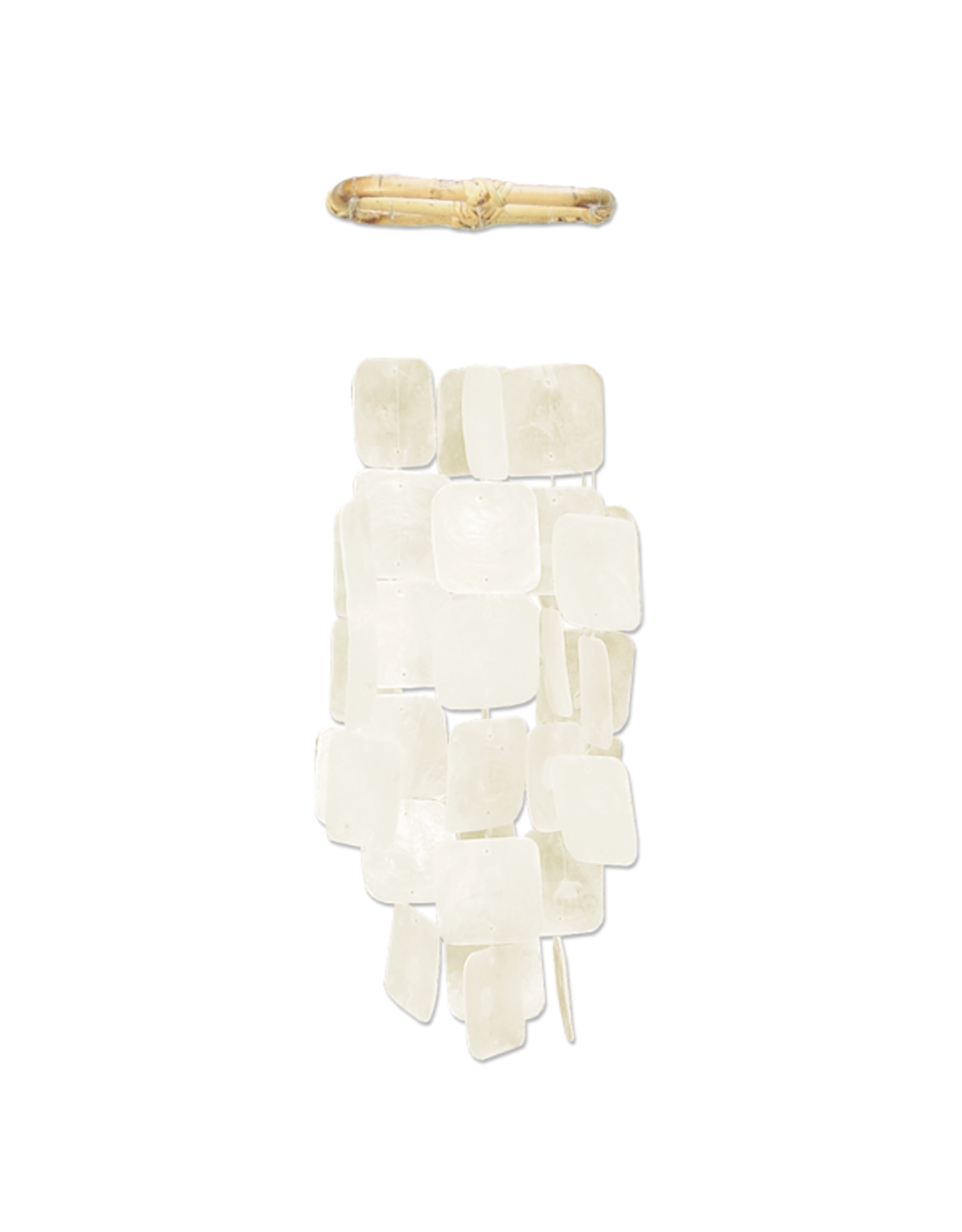 Small Square Capiz Wind Chimes,  WHITE