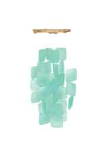 Small Square Capiz  Wind Chimes, TURQUOISE, Indonesia