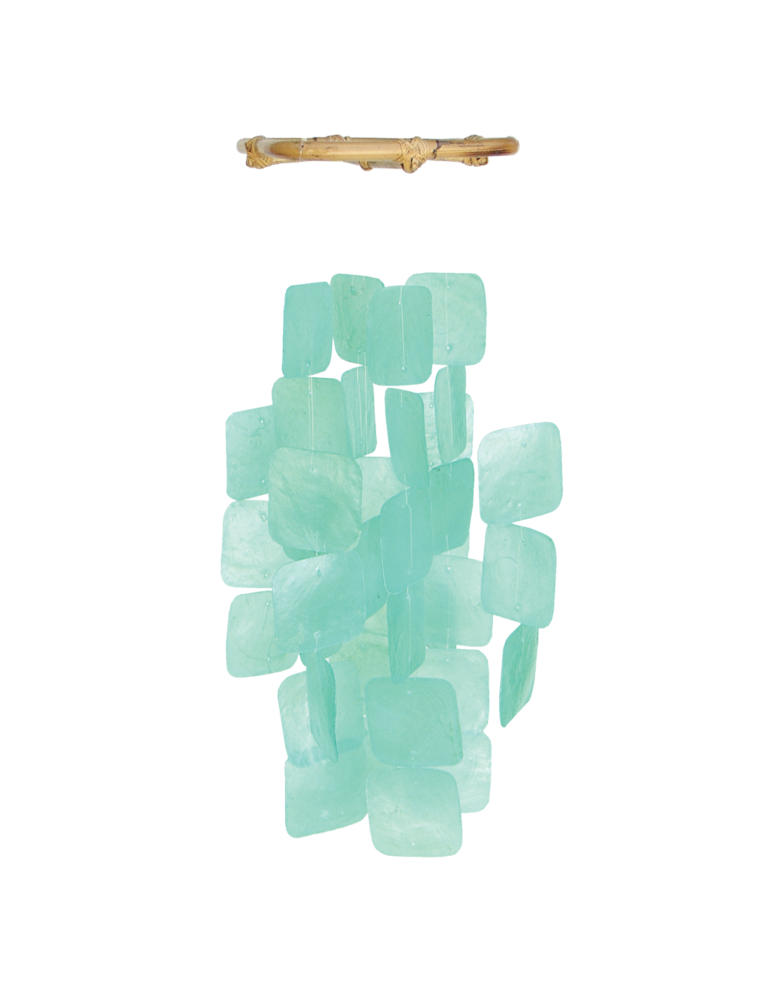 Small Square Capiz Chimes, TURQUOISE