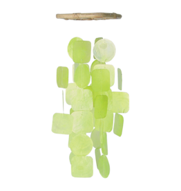 Small Square Capiz Chimes, GREEN