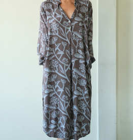 Long Blouse Dress, Mocha Blue Frangipani, Indonesia