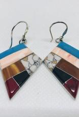 Multi Gem Inlaid Stone Earrings