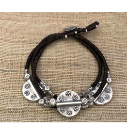 Hill Tribe, Sterling Silver Three Coin Bracelet