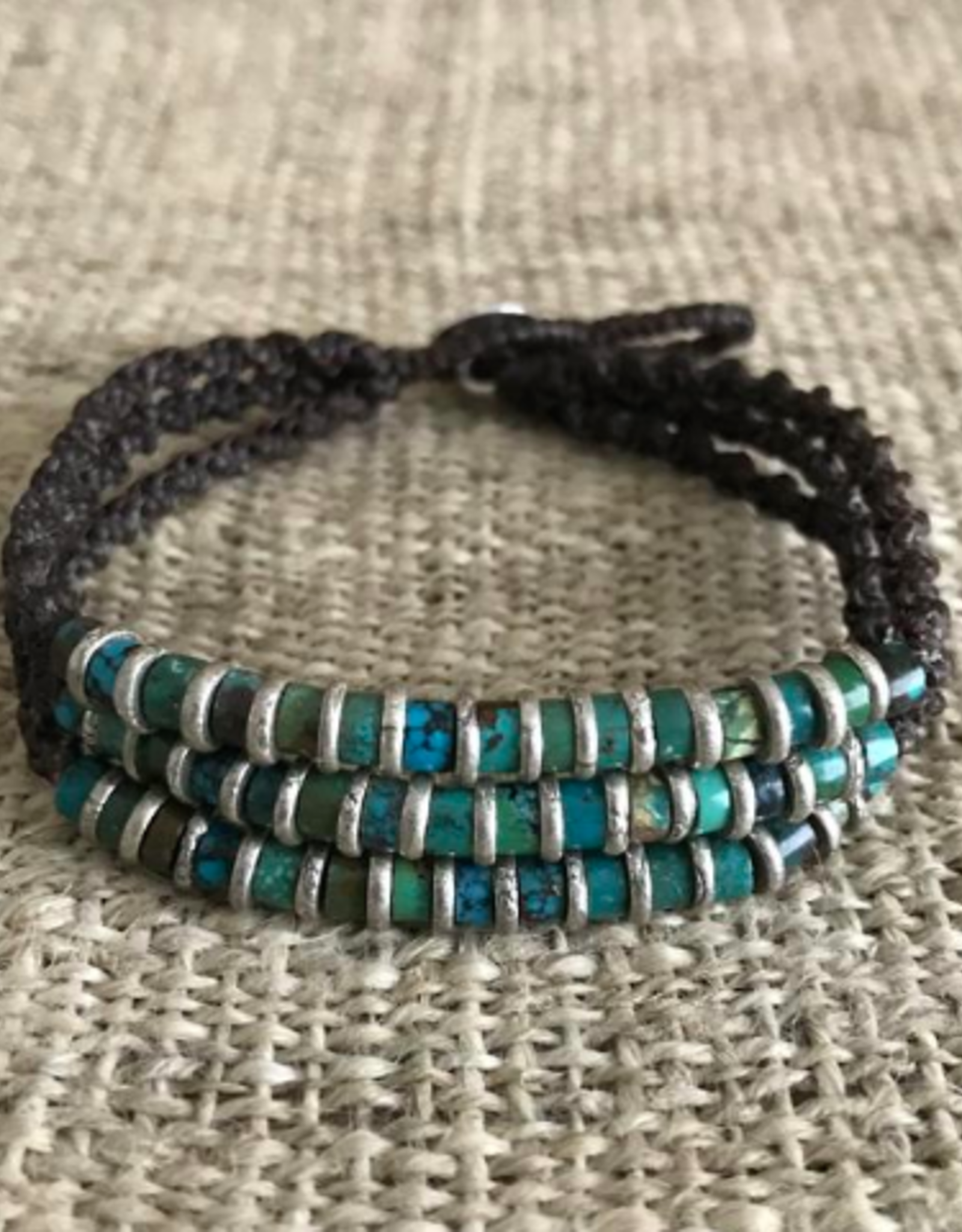 Hill Tribe, Trilogy Sterling Silver Turquoise Bracelet