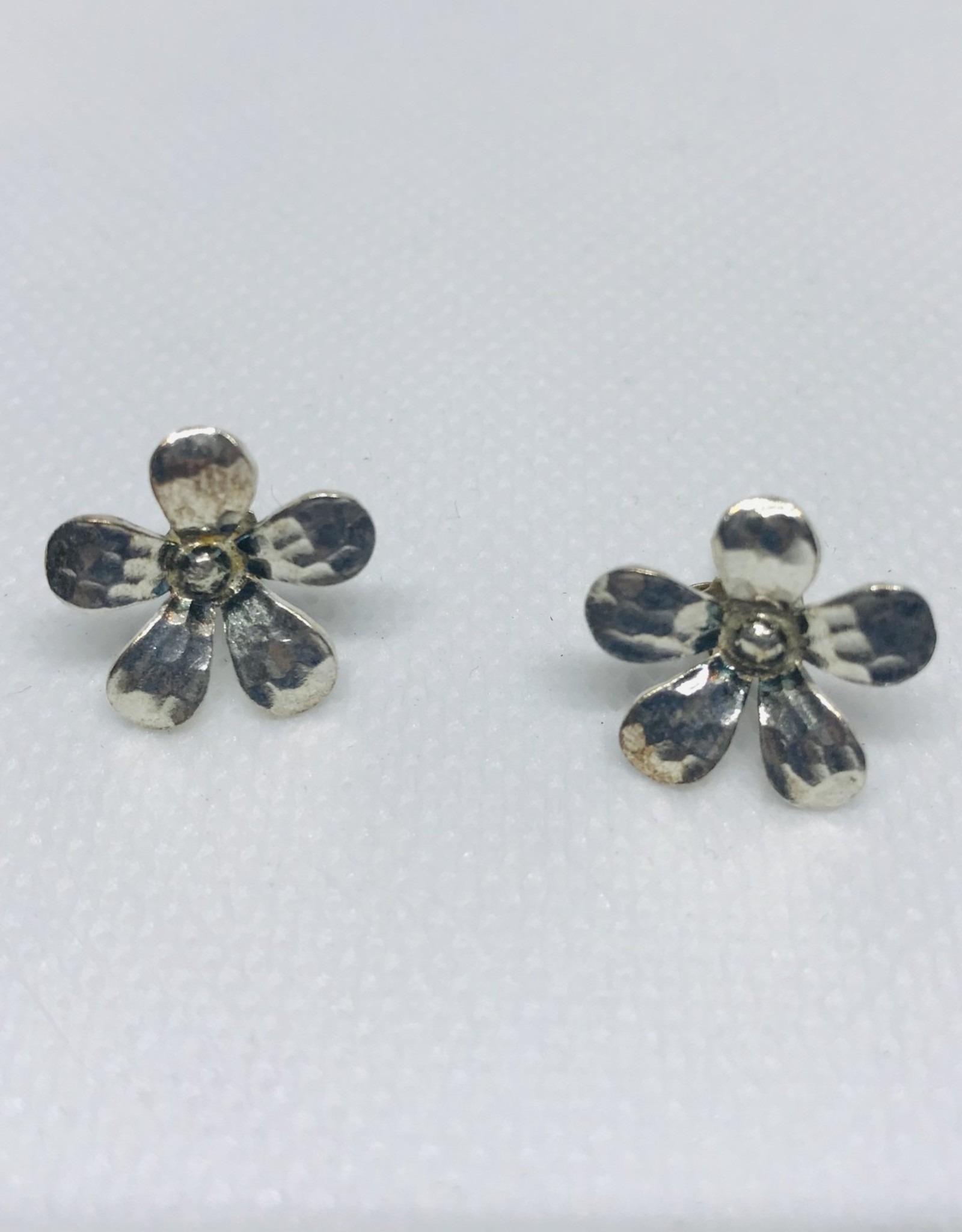 Hill Tribe, Floral Stud Earrings  Hammered Daisy