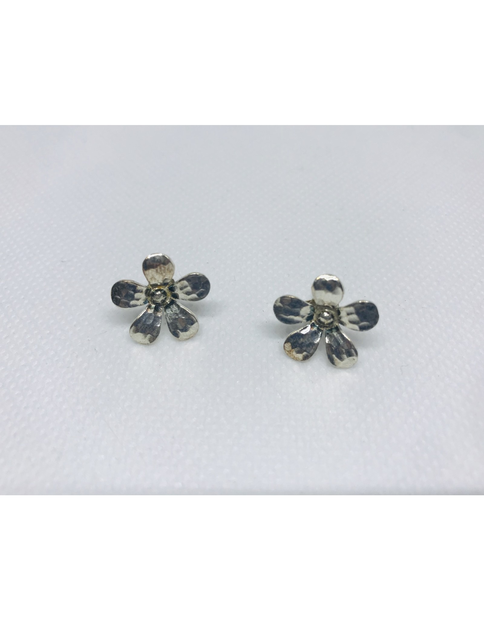 Floral Stud Earrings  Hammered Daisy, Hill Tribe, Thailand