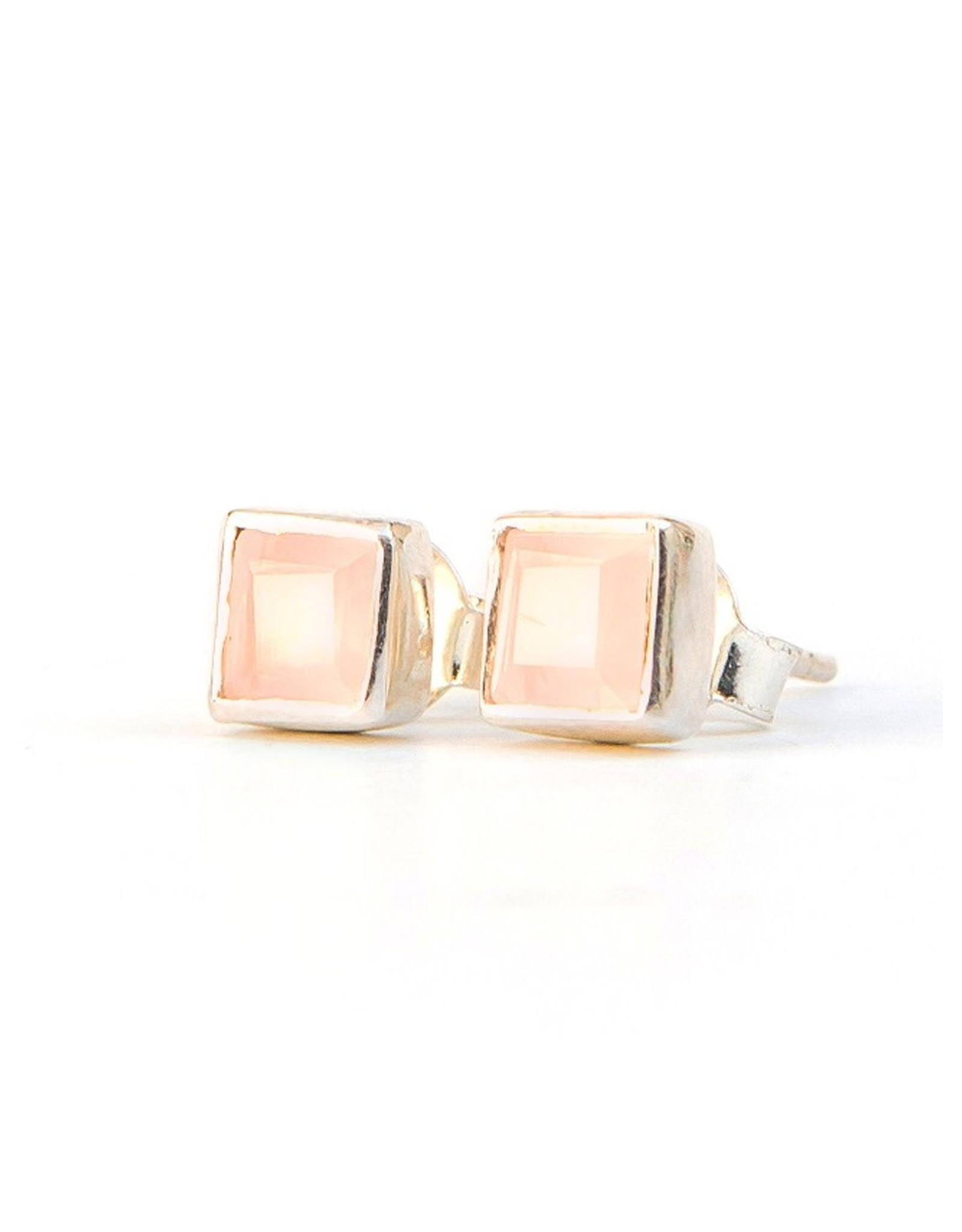 Crystal Waters Studs Rose Quartz, Sterling Silver