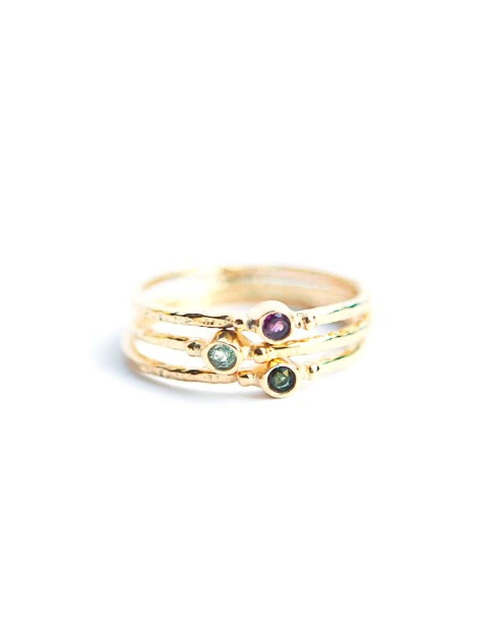 Stacking Sterling Plated 14 kt Ring, Tourmaline