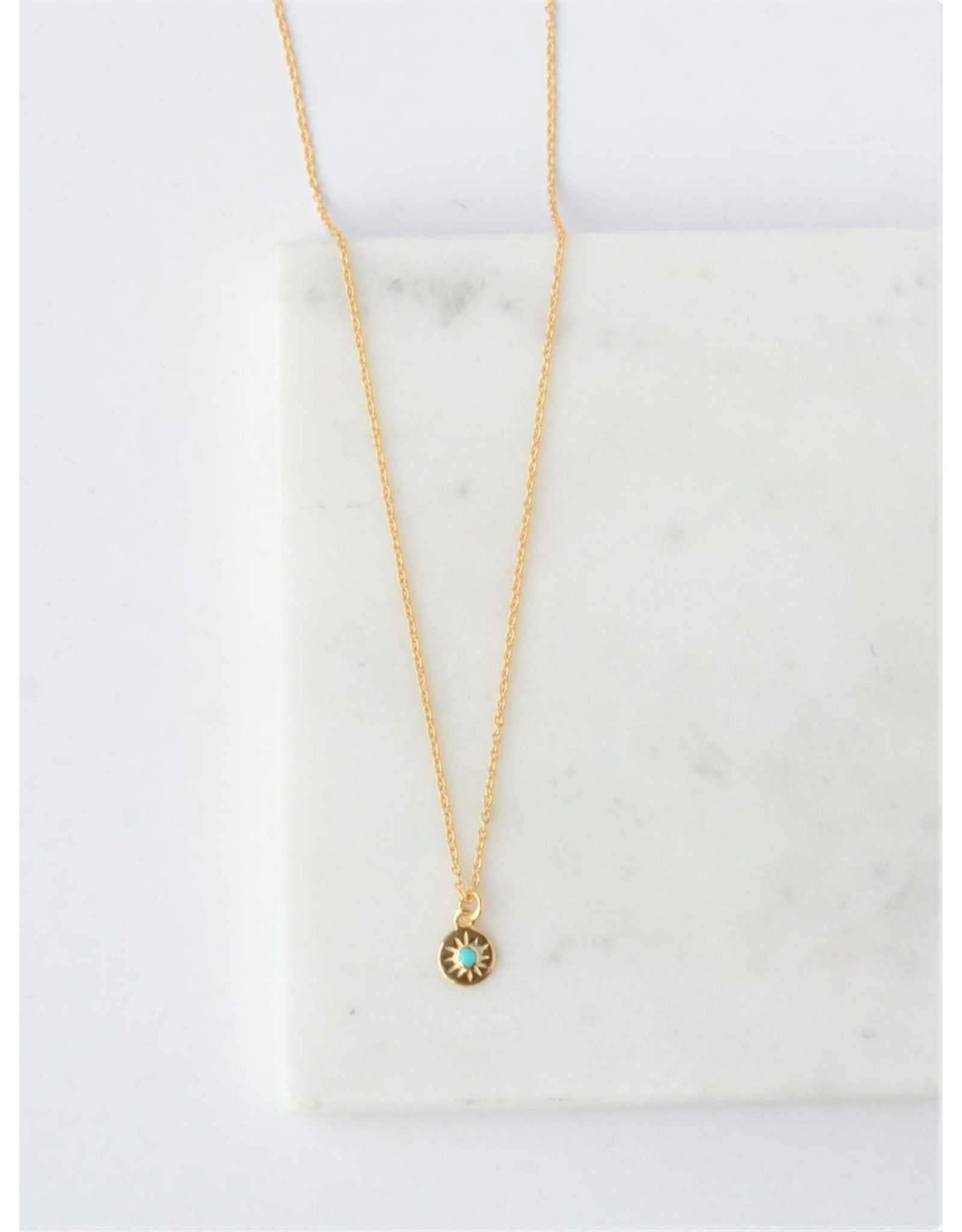 Starburst Turquoise 14kt gold Necklace