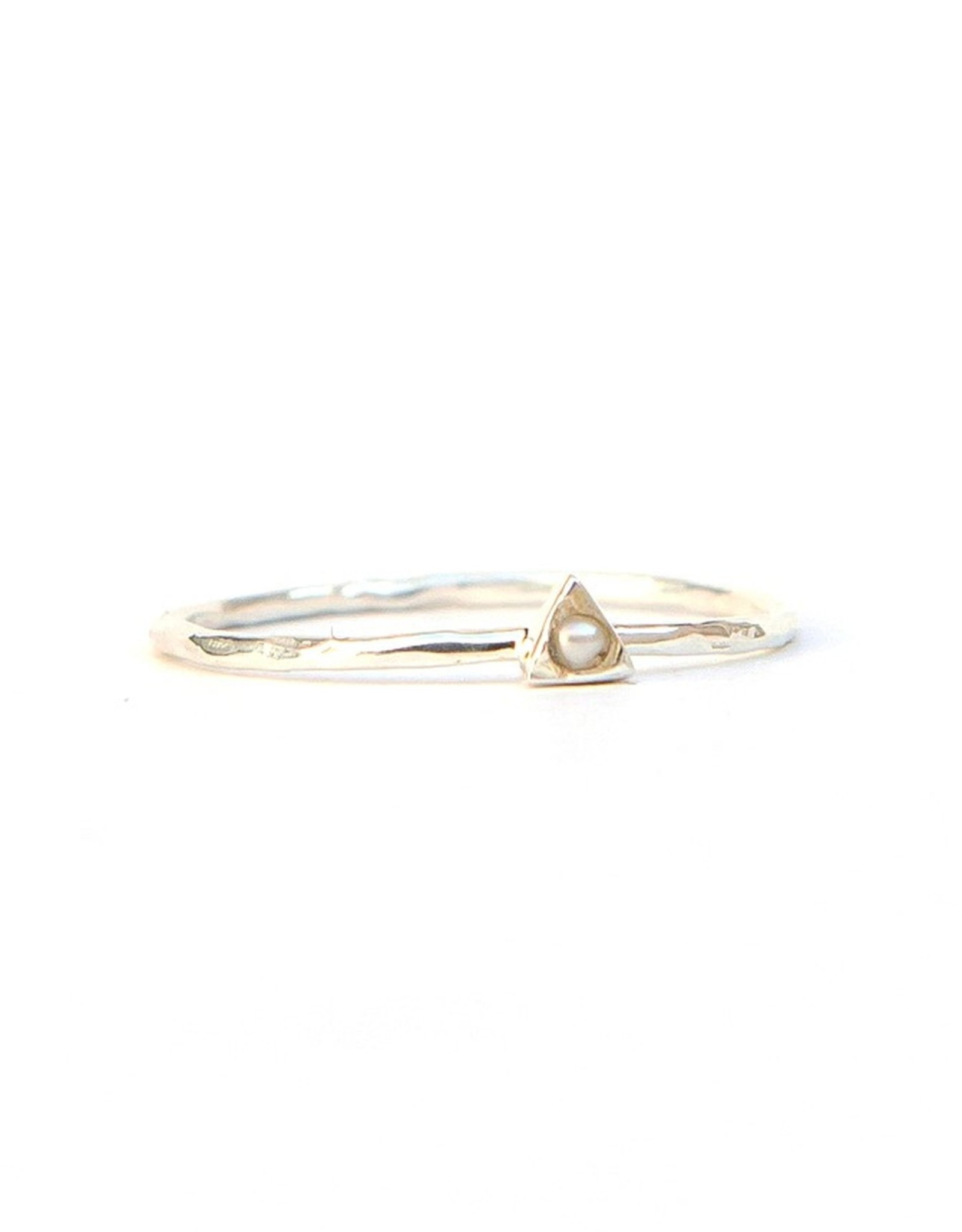 Tiny Triangle Sterling Ring Pearl