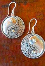 Sterling Silver Filigree Yin Yang Earrings