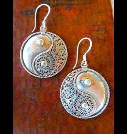 Sterling Silver Filigree Yin Yang Earrings, Nepal