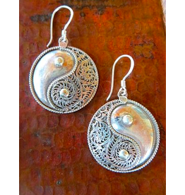 Sterling Silver Filigree Yin Yang Earrings