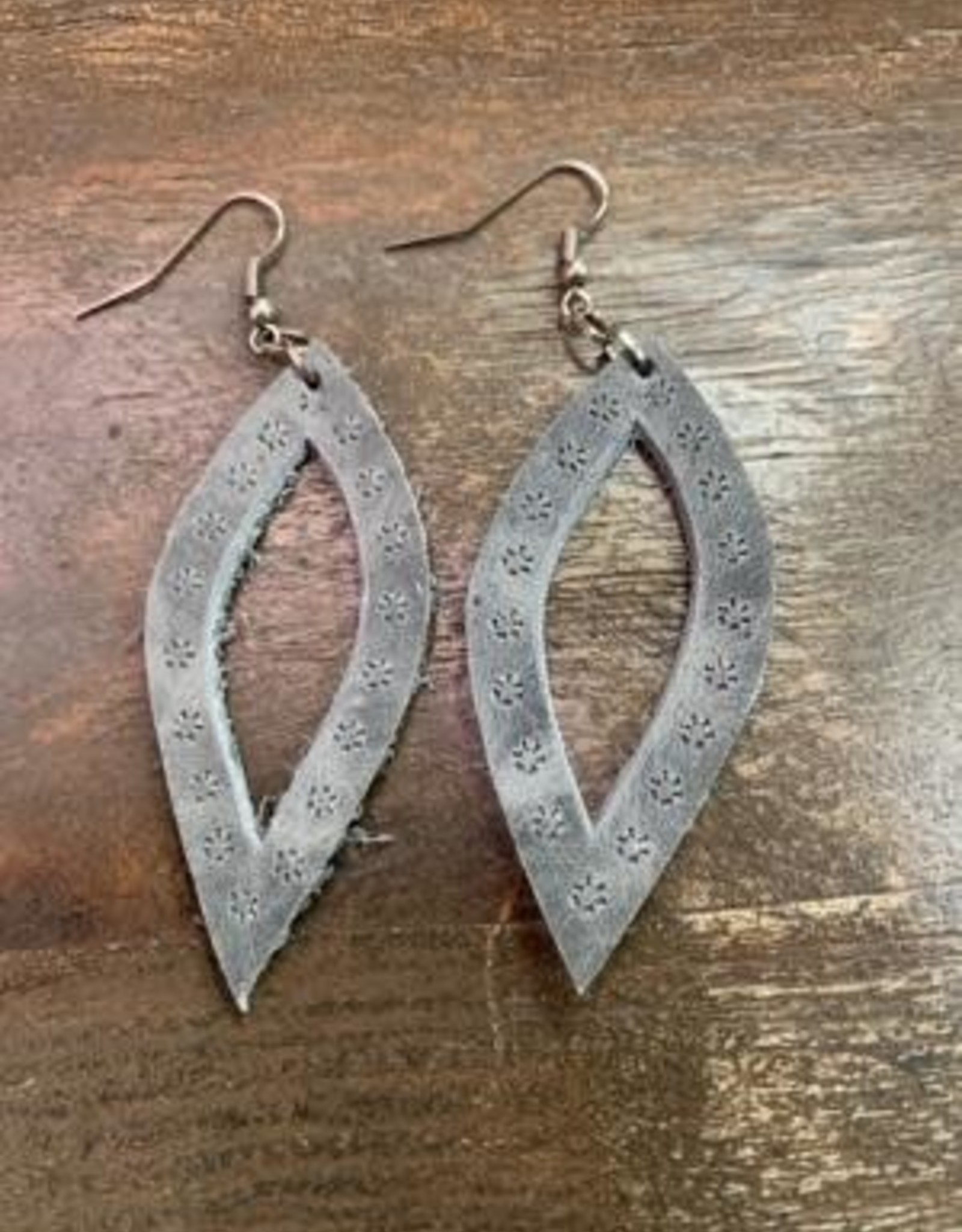 Oval Leather Earrings