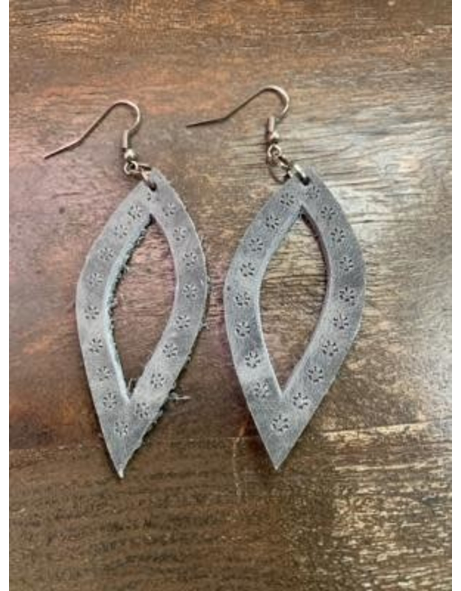 Oval Leather Earrings, Guatemala