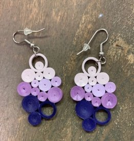 Quilled Earrings Indigo Ombre Bunch