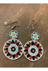Quilled Earrings Turquoise Medallion