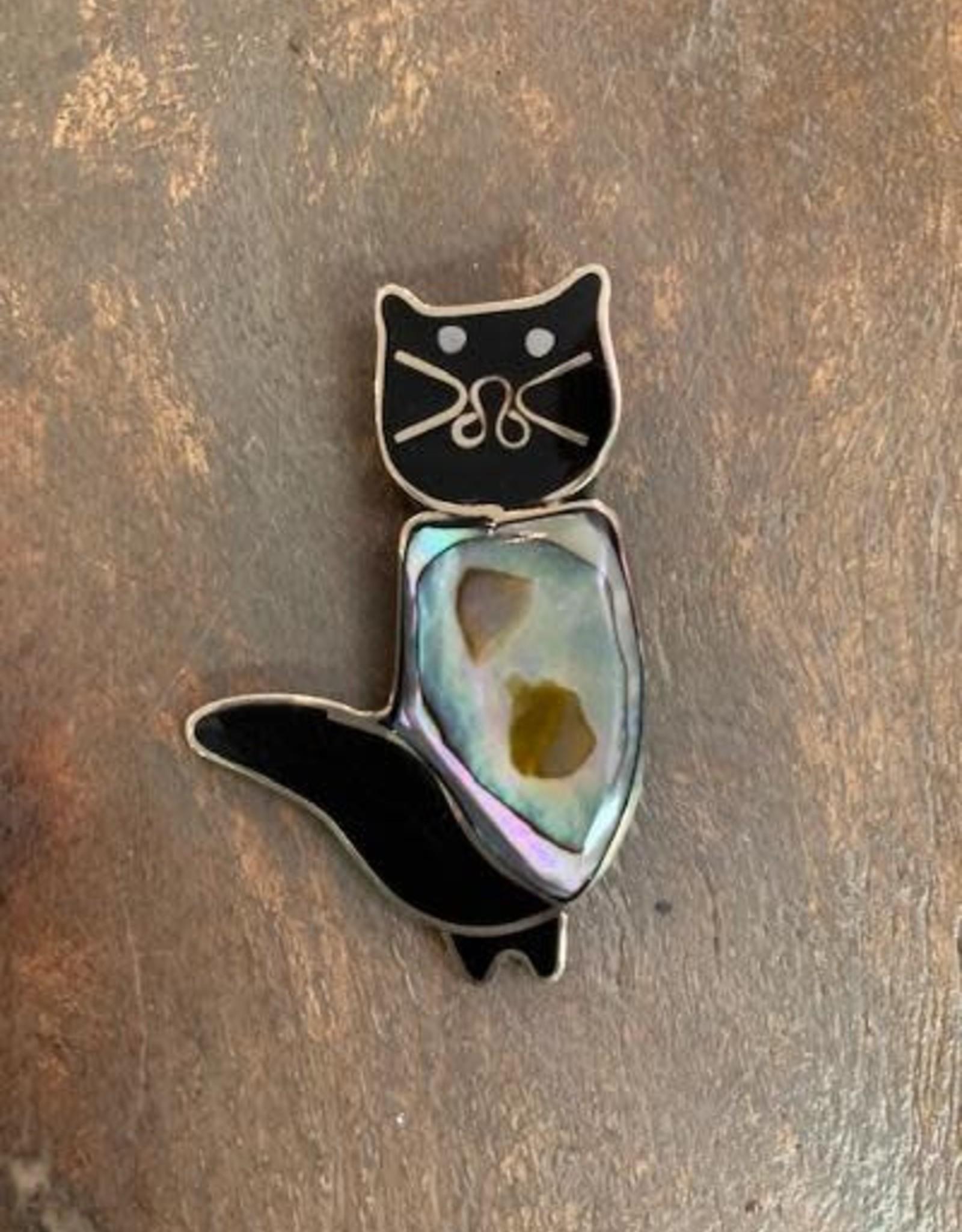 Inlaid Abalone Cat Brooch