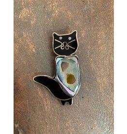 Inlaid Abalone Cat Brooch
