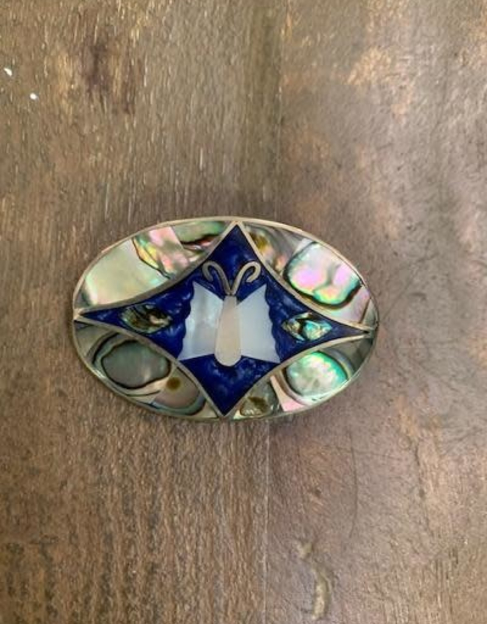 Inlaid Abalone Butterfly Brooch, Blue
