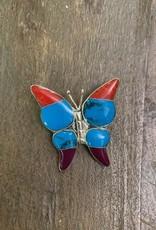 Inlaid Gem Butterfly Brooch